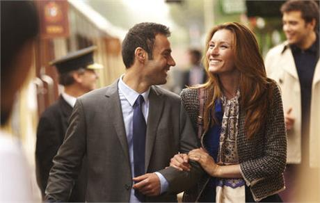 orient express couple outside train